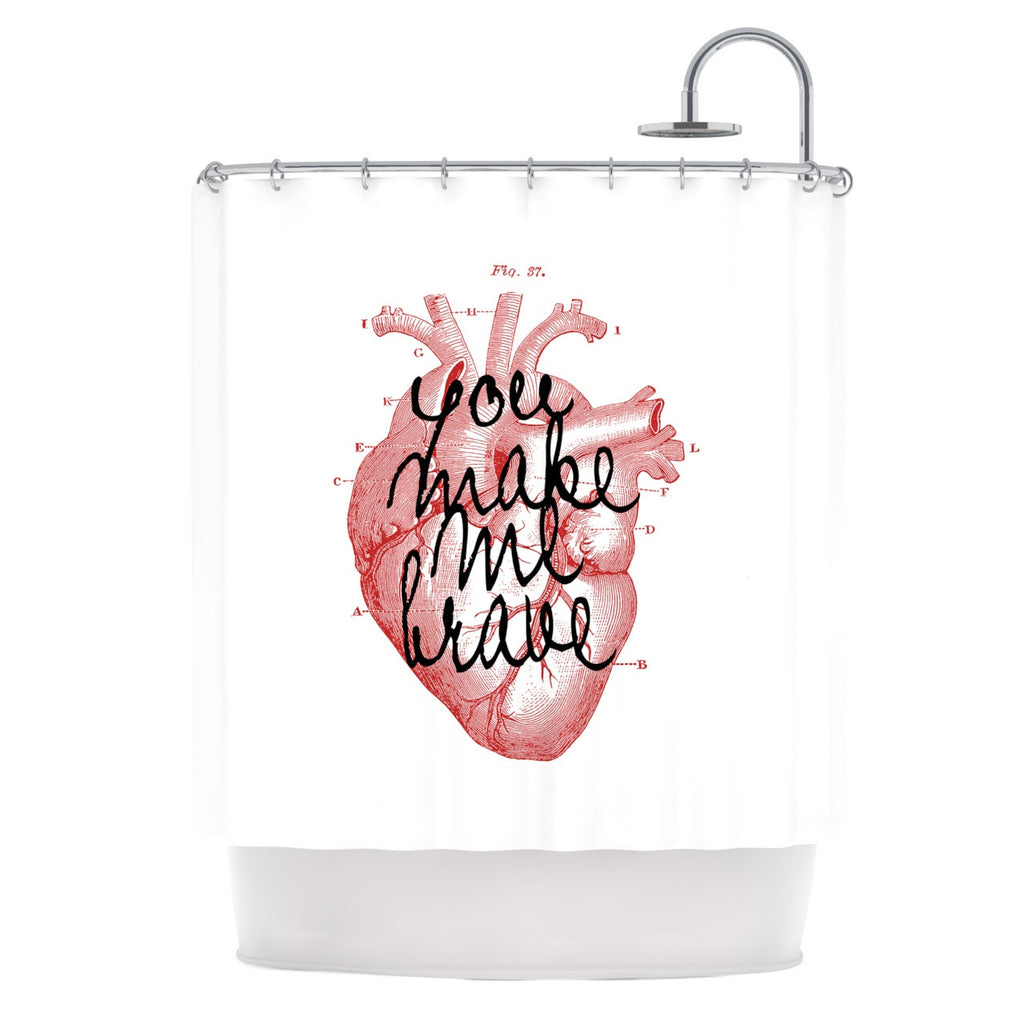 "Suzanne Carter ""Make Me Brave"" White Red Shower Curtain - KESS InHouse"