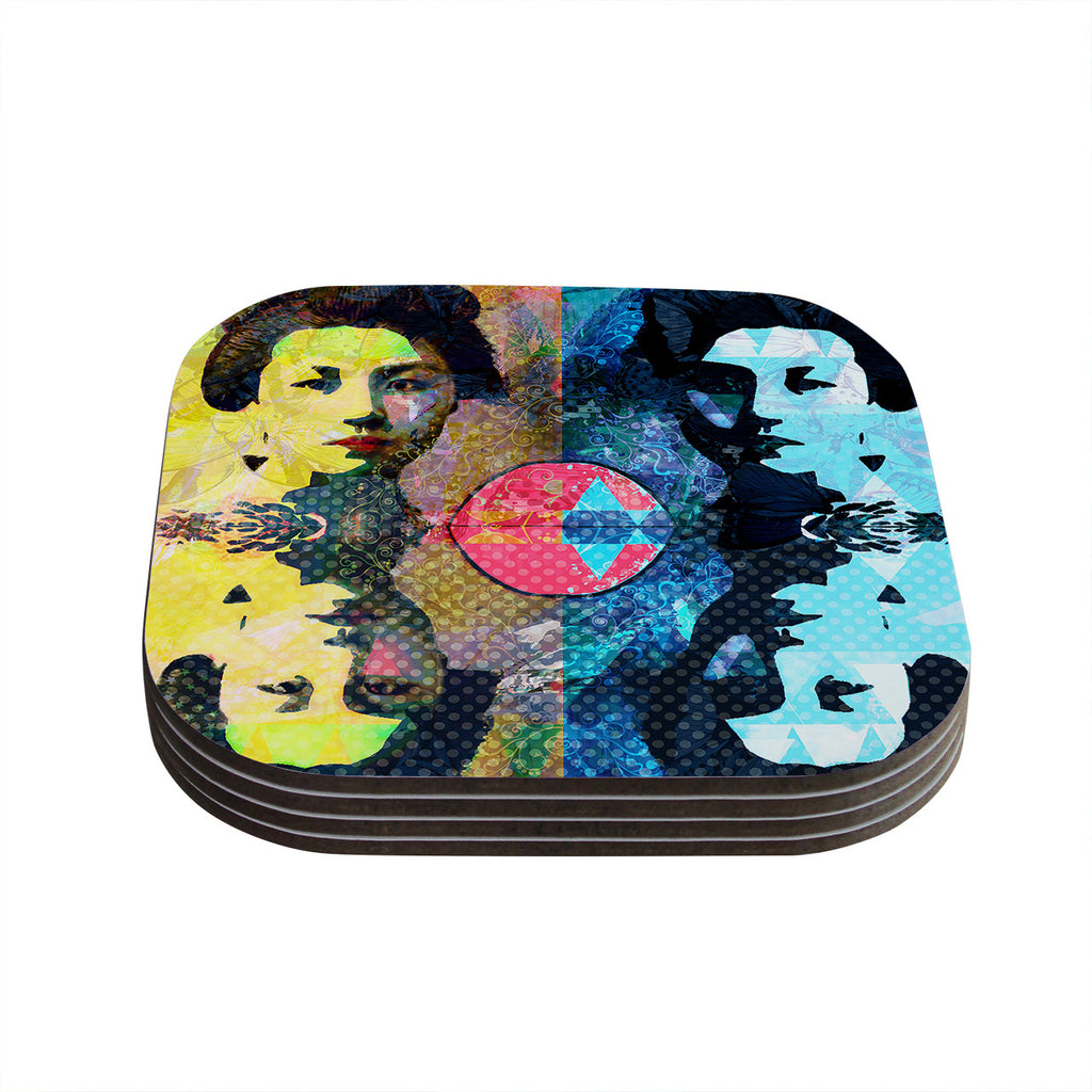 "Suzanne Carter ""Kimono Girl"" Yellow Blue Coasters (Set of 4)"