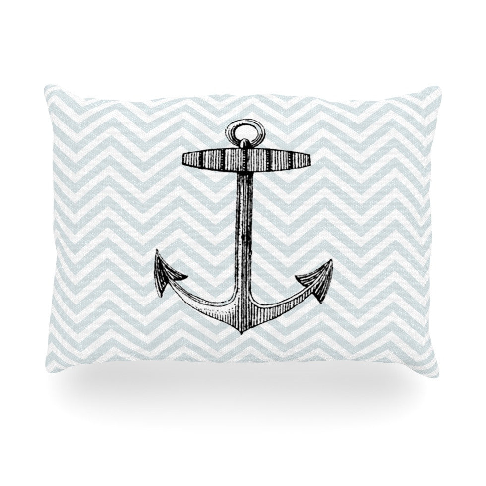 "Suzanne Carter ""Anchor"" Black Blue Oblong Pillow - KESS InHouse"