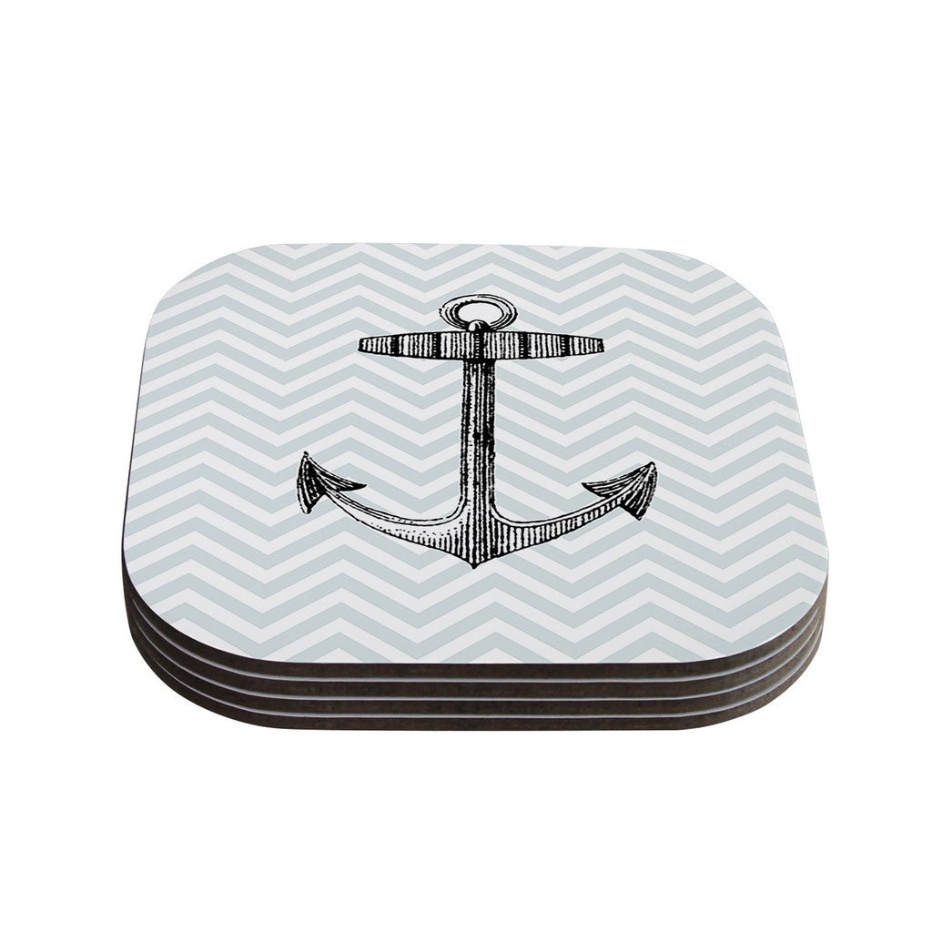 "Suzanne Carter ""Anchor"" Black Blue Coasters (Set of 4)"