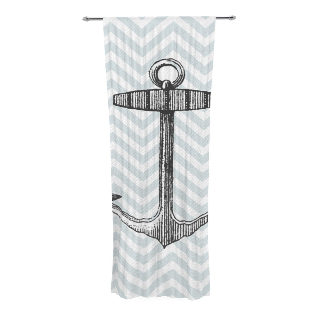 "Suzanne Carter ""Anchor"" Black Blue Decorative Sheer Curtain - KESS InHouse  - 1"