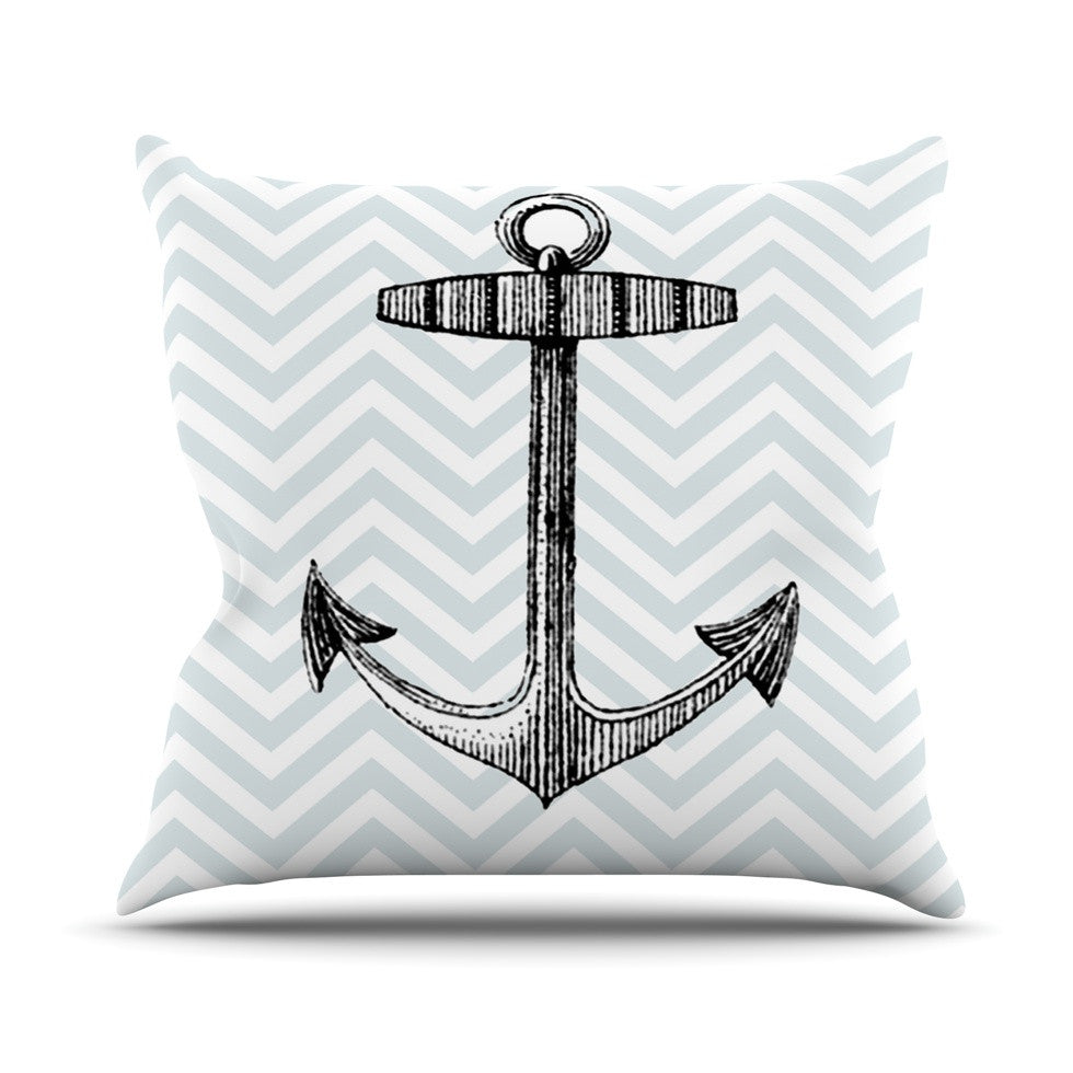 "Suzanne Carter ""Anchor"" Black Blue Outdoor Throw Pillow - KESS InHouse  - 1"
