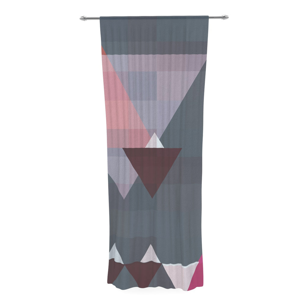 "Suzanne Carter ""Geo II"" Gray Geometric Decorative Sheer Curtain - KESS InHouse  - 1"