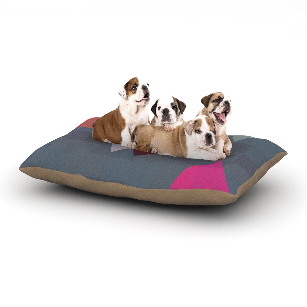 "Suzanne Carter ""Geo II"" Gray Geometric Dog Bed - KESS InHouse  - 1"