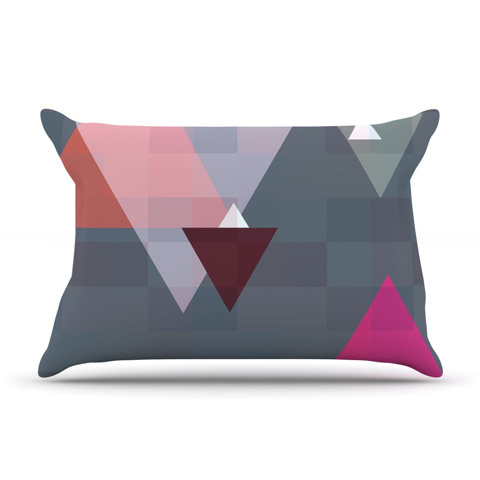 "Suzanne Carter ""Geo II"" Gray Geometric Pillow Sham - KESS InHouse"