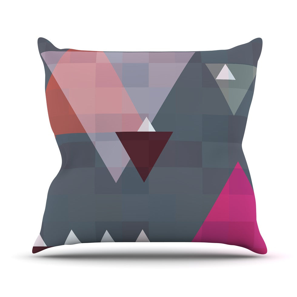 "Suzanne Carter ""Geo II"" Gray Geometric Outdoor Throw Pillow - KESS InHouse  - 1"