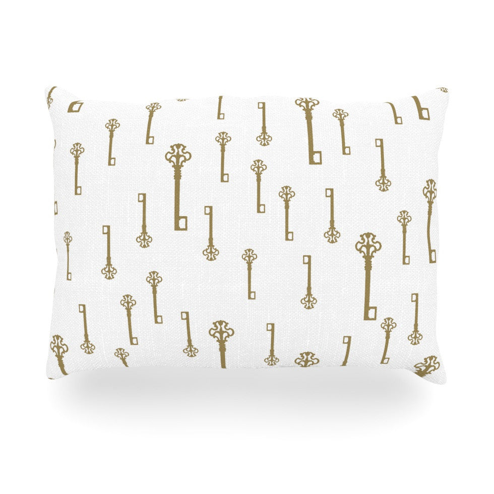 "Suzanne Carter ""Vintage Gold Keys II"" White Yellow Oblong Pillow - KESS InHouse"