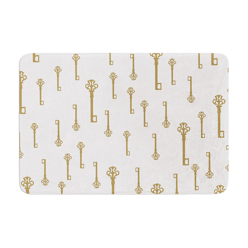 "Suzanne Carter ""Vintage Gold Keys II"" White Yellow Memory Foam Bath Mat - KESS InHouse"
