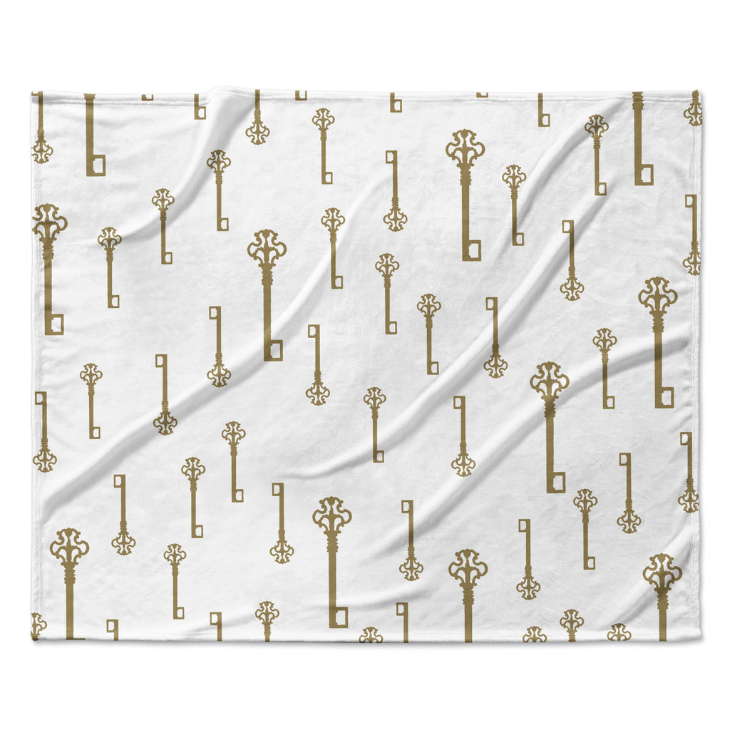 "Suzanne Carter ""Vintage Gold Keys II"" White Yellow Fleece Throw Blanket"