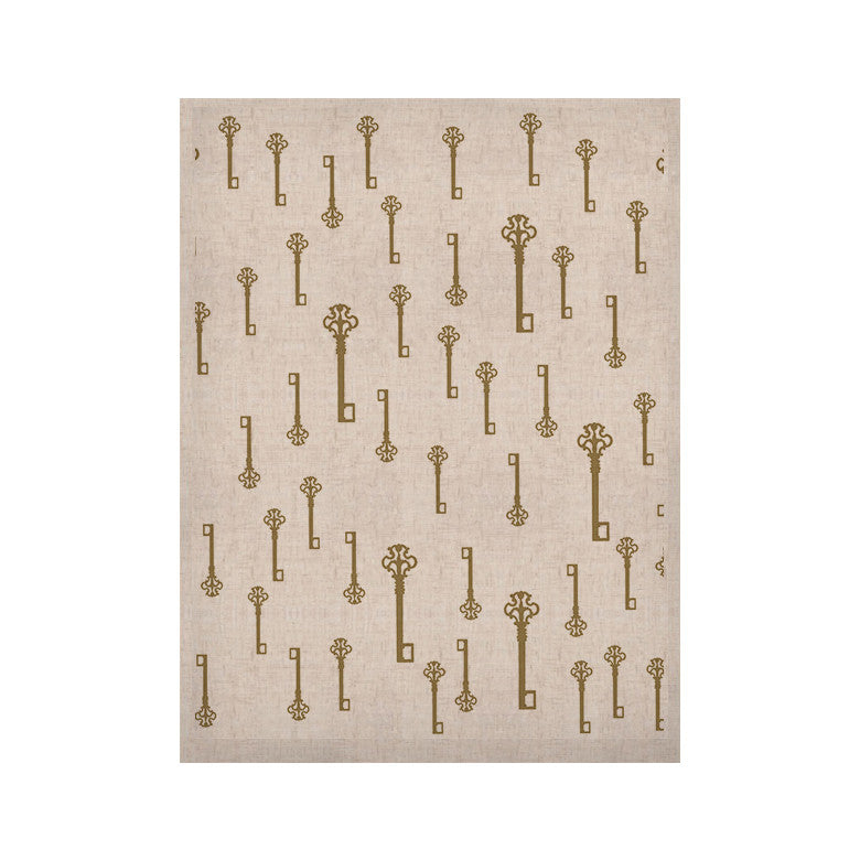 "Suzanne Carter ""Vintage Gold Keys II"" White Yellow KESS Naturals Canvas (Frame not Included) - KESS InHouse  - 1"