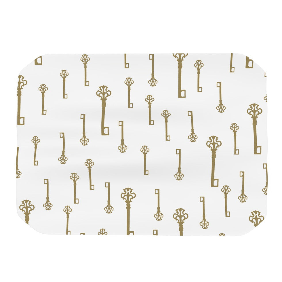 "Suzanne Carter ""Vintage Gold Keys II"" White Yellow Place Mat - KESS InHouse"