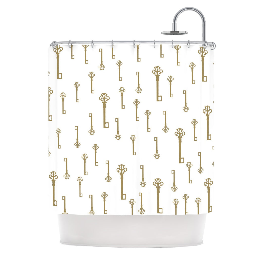 "Suzanne Carter ""Vintage Gold Keys II"" White Yellow Shower Curtain - KESS InHouse"