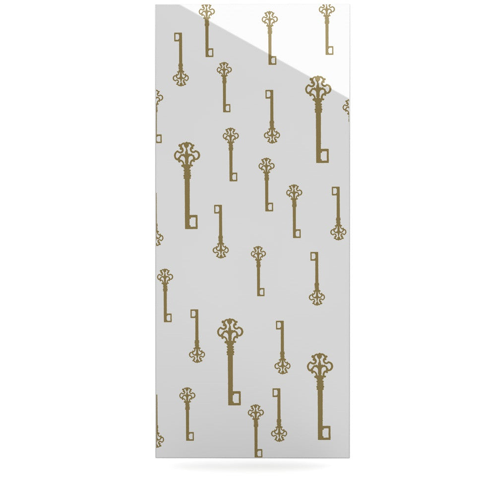 "Suzanne Carter ""Vintage Gold Keys II"" White Yellow Luxe Rectangle Panel - KESS InHouse  - 1"