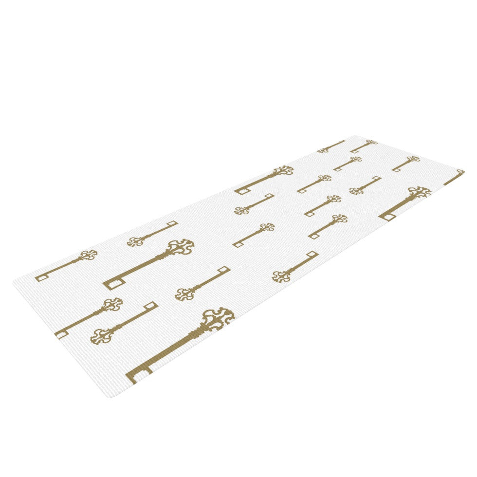 "Suzanne Carter ""Vintage Gold Keys II"" White Yellow Yoga Mat - KESS InHouse  - 1"