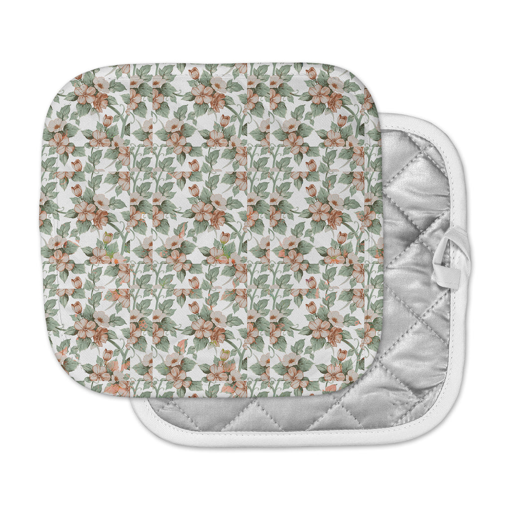"Suzanne Carter ""Vintage Flowers"" Green Floral Pot Holder"