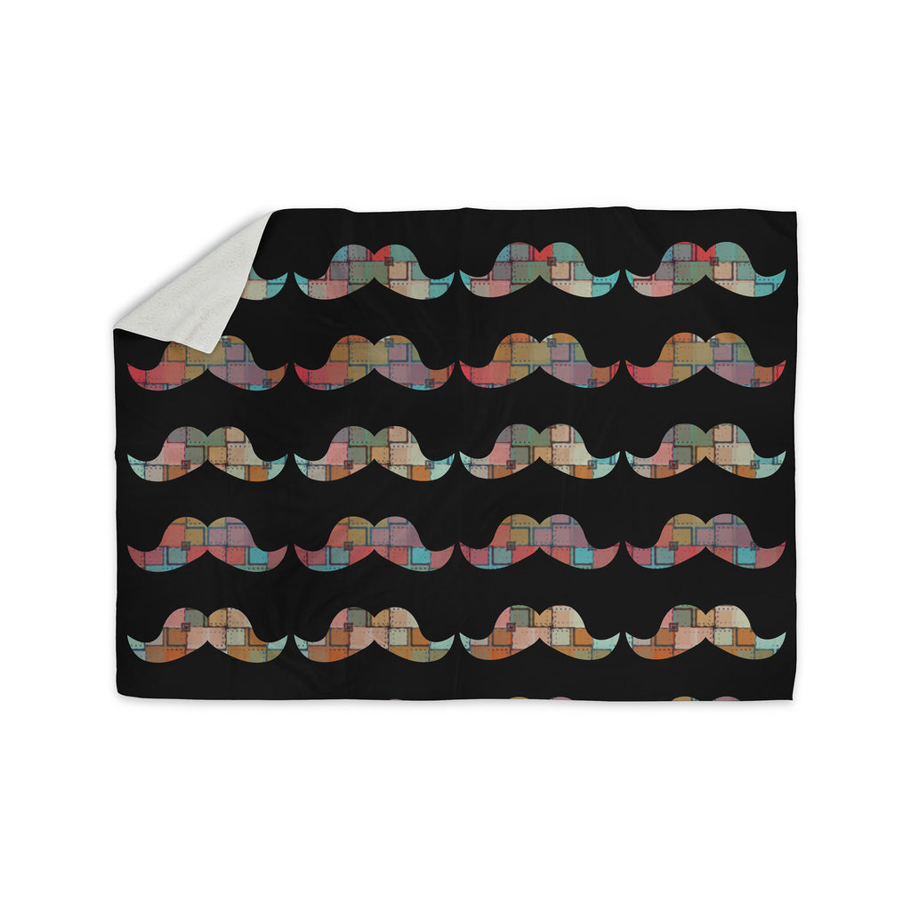 "Suzanne Carter ""Patchwork Mo"" Multicolor Mustache Sherpa Blanket - KESS InHouse  - 1"