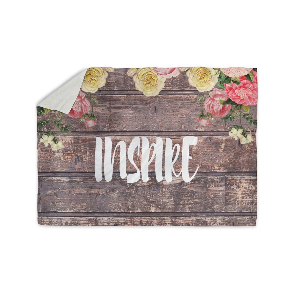 "Suzanne Carter ""Inspire"" Contemporary Typography Sherpa Blanket - KESS InHouse  - 1"