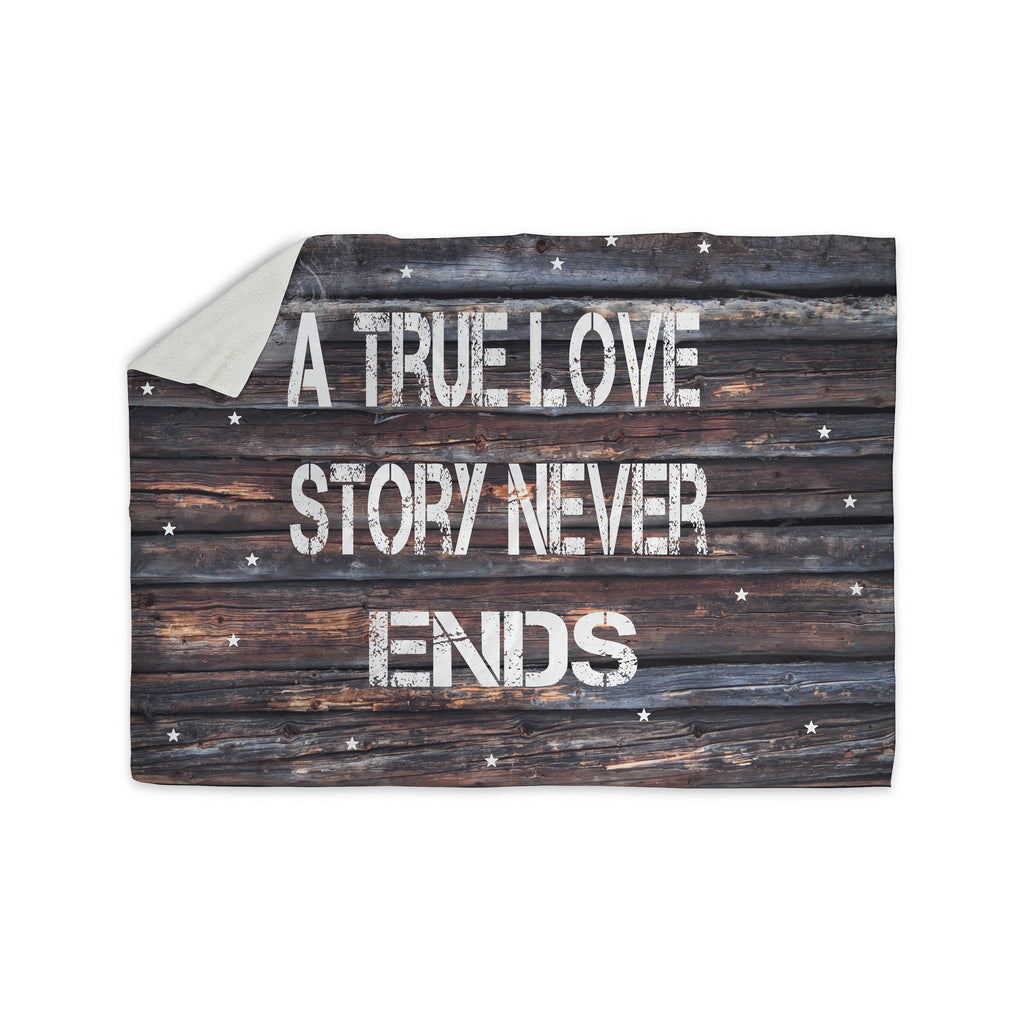 "Suzanne Carter ""True Love"" Contemporary Typography Sherpa Blanket - KESS InHouse  - 1"