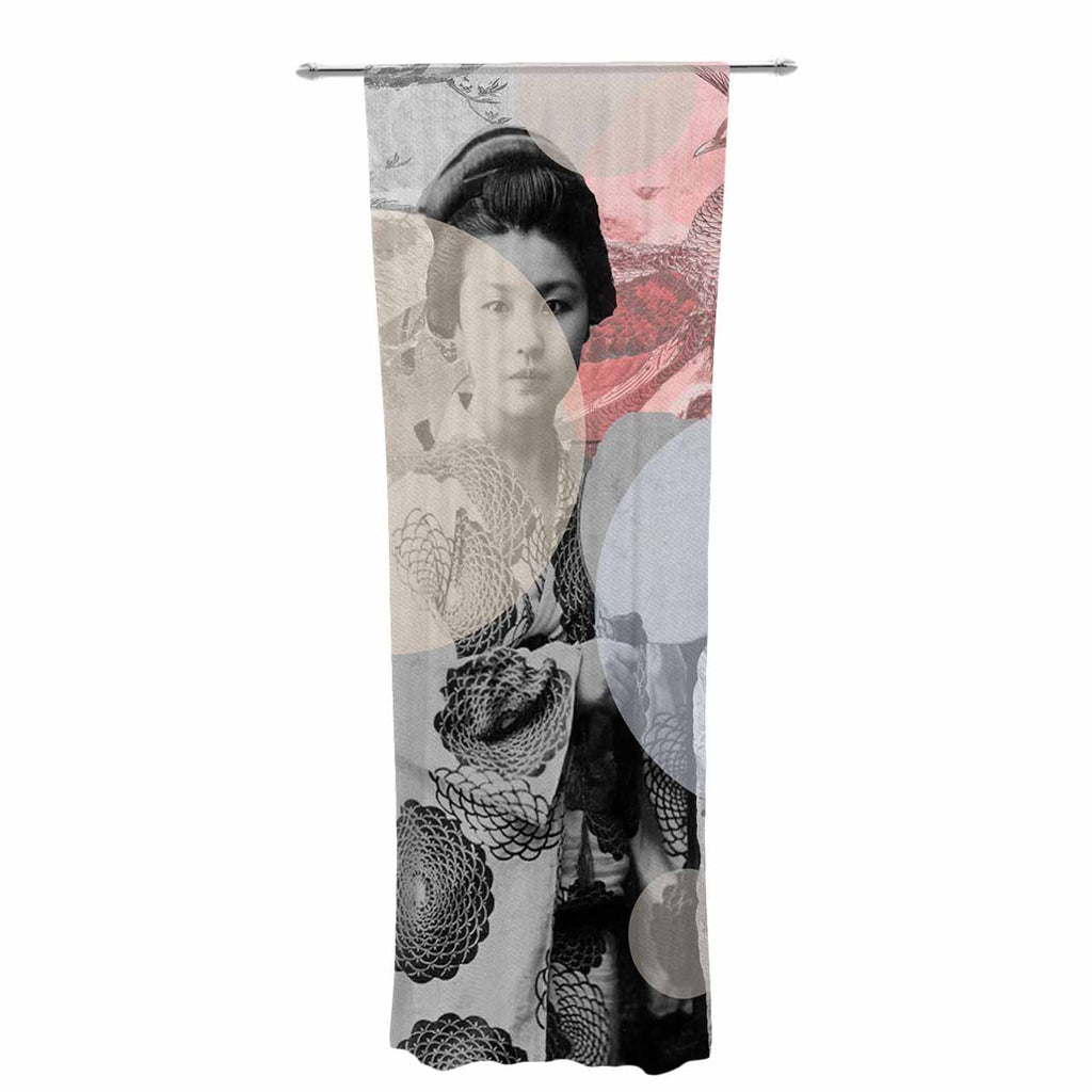 "Suzanne Carter ""Kyoto Girl"" Gray Pastel Decorative Sheer Curtain - KESS InHouse  - 1"
