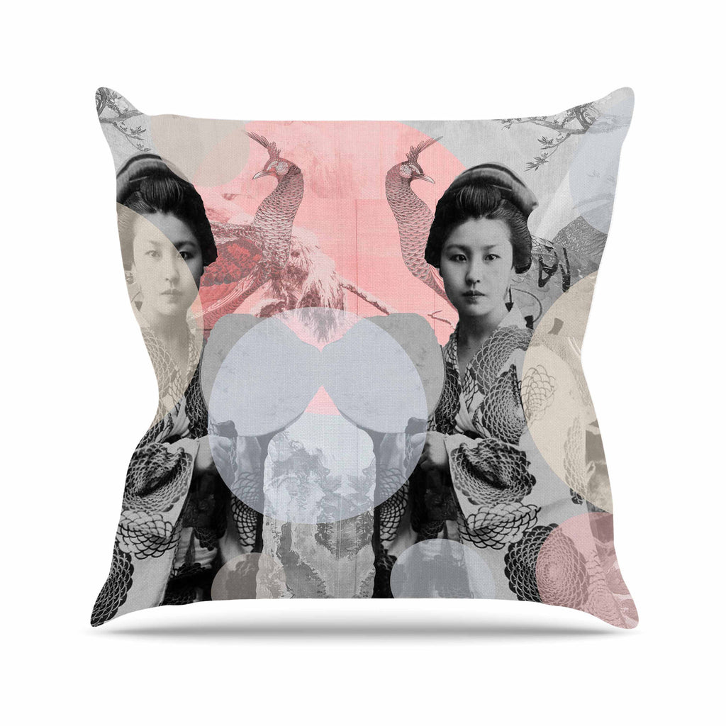 "Suzanne Carter ""Kyoto Girl"" Gray Pastel Throw Pillow - KESS InHouse  - 1"