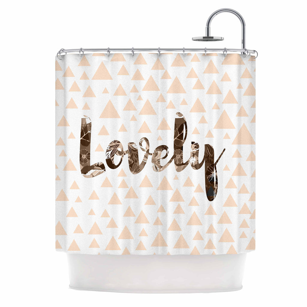 "Suzanne Carter ""Lovely"" Beige Digital Shower Curtain - KESS InHouse"