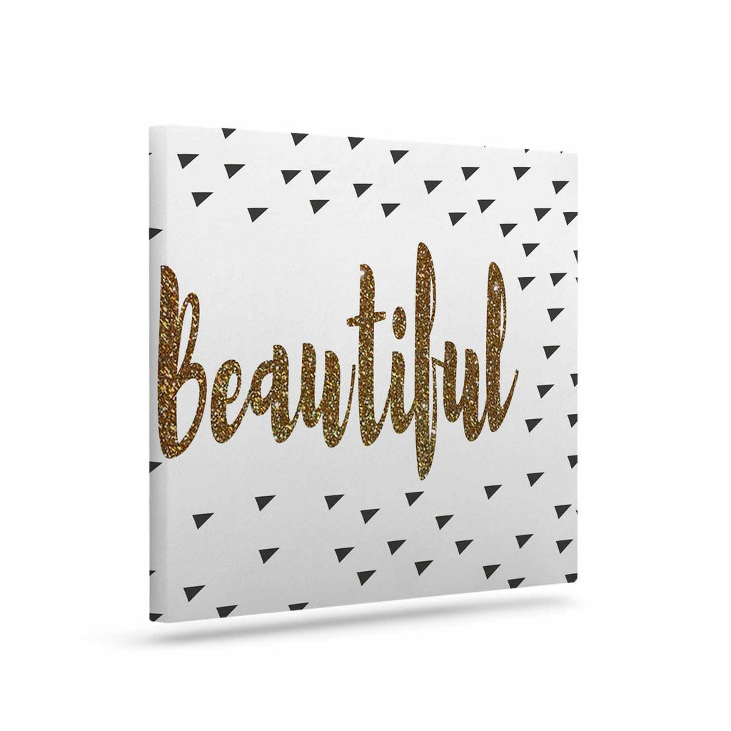 "Suzanne Carter ""Beautiful"" Gold Typography Canvas Art - KESS InHouse  - 1"