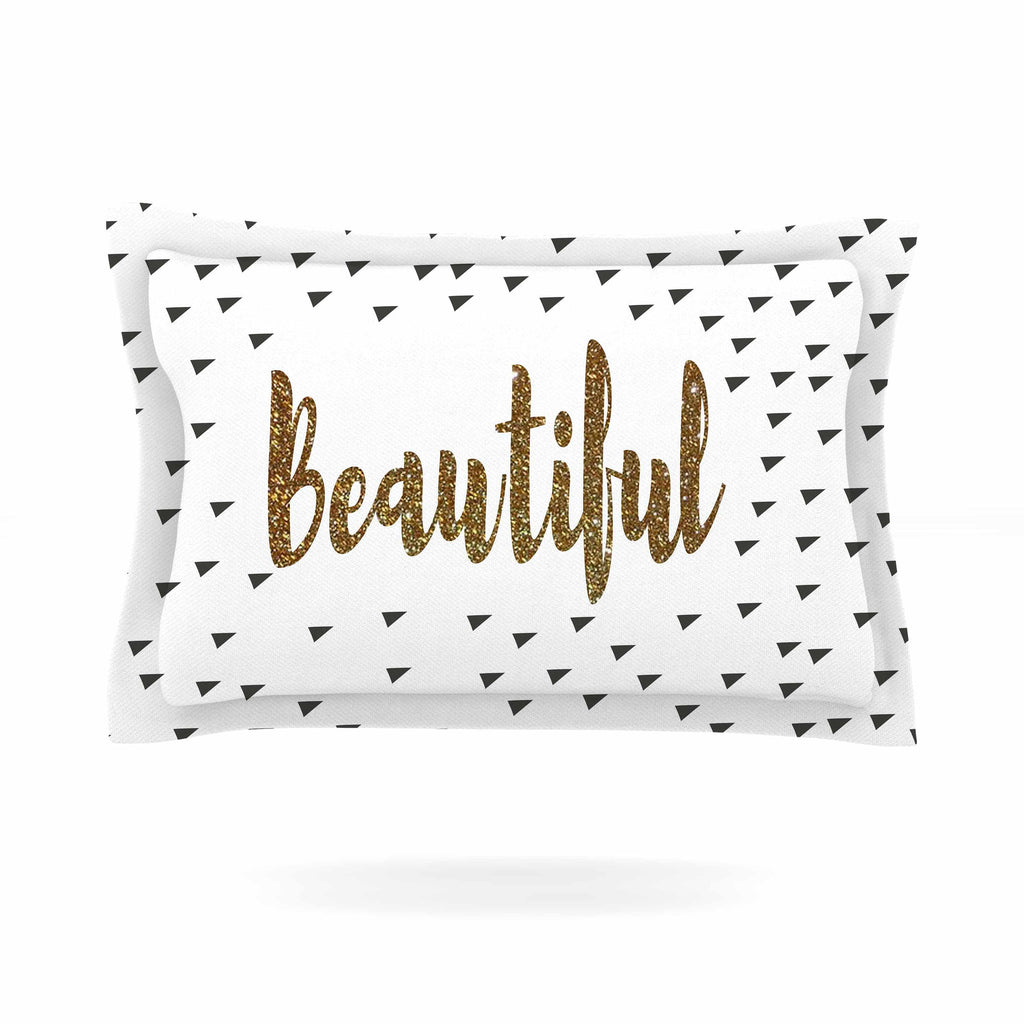 "Suzanne Carter ""Beautiful"" Gold Typography Pillow Sham - KESS InHouse  - 1"