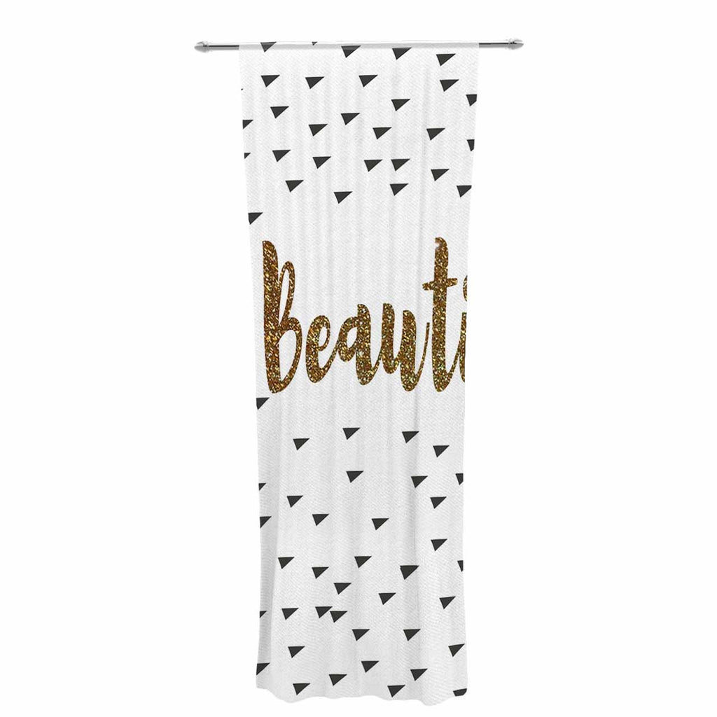 "Suzanne Carter ""Beautiful"" Gold Typography Decorative Sheer Curtain - KESS InHouse  - 1"