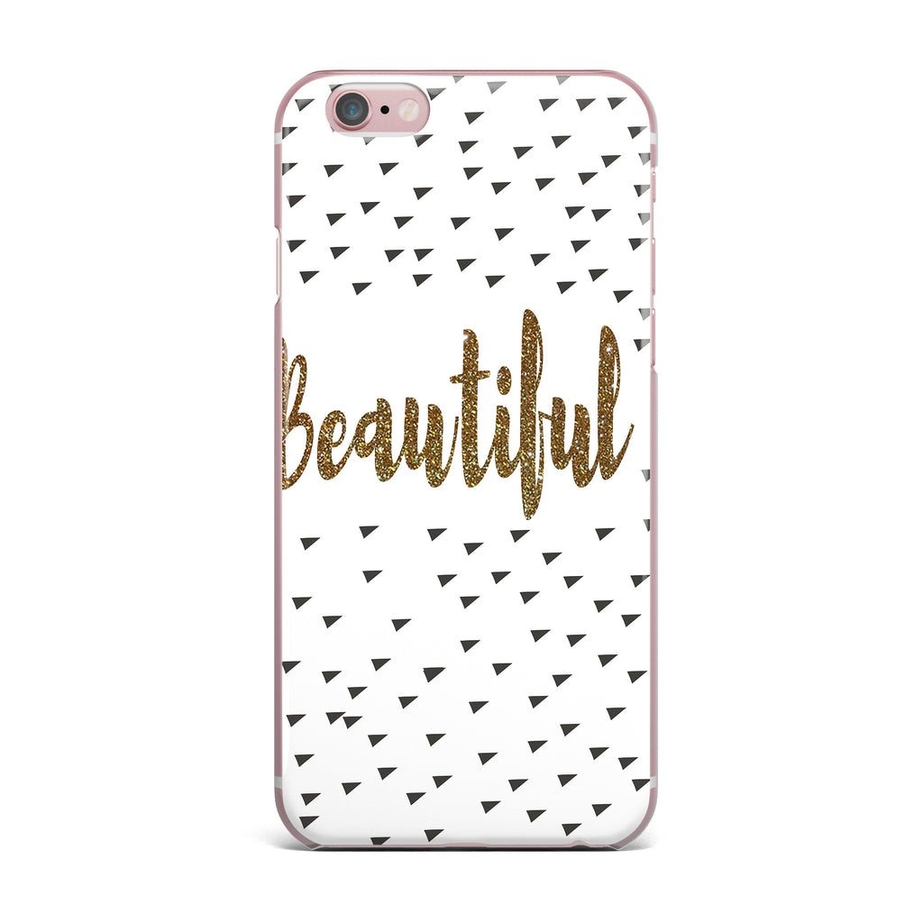 "Suzanne Carter ""Beautiful"" Gold Typography iPhone Case - KESS InHouse"