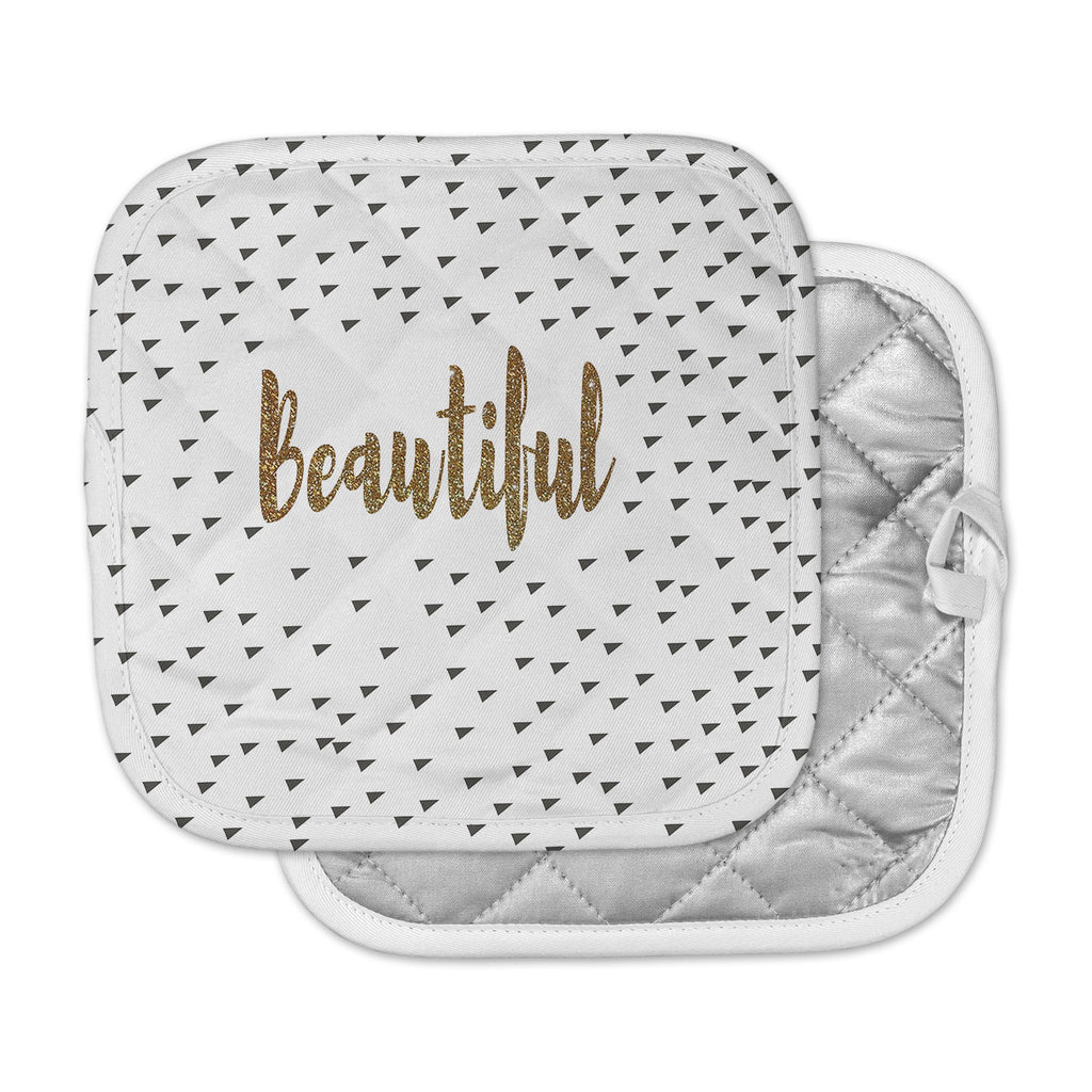 "Suzanne Carter ""Beautiful"" Gold Typography Pot Holder"