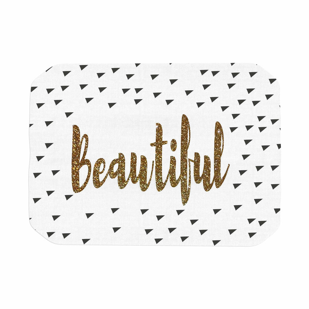 "Suzanne Carter ""Beautiful"" Gold Typography Place Mat - KESS InHouse"