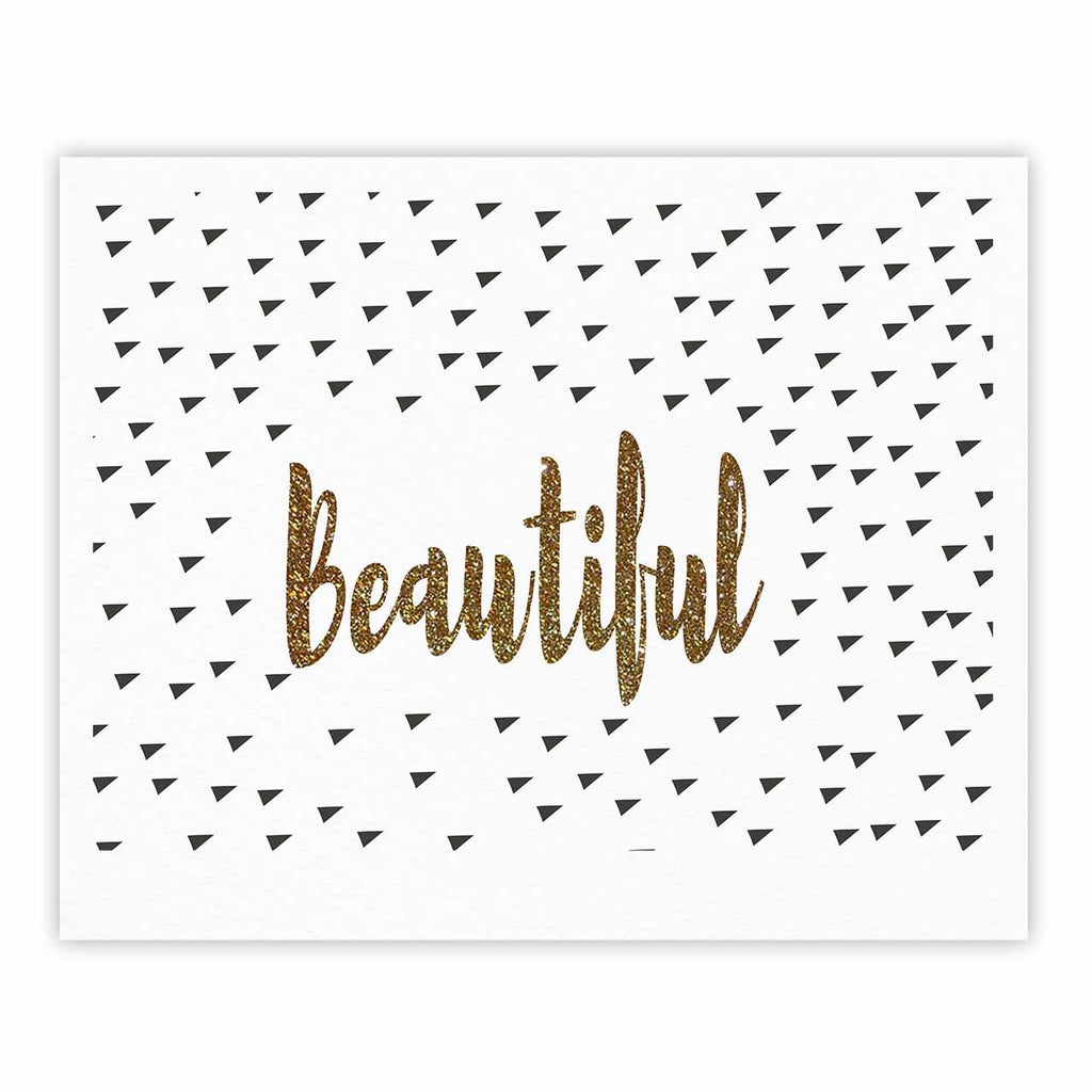 "Suzanne Carter ""Beautiful"" Gold Typography Fine Art Gallery Print - KESS InHouse"