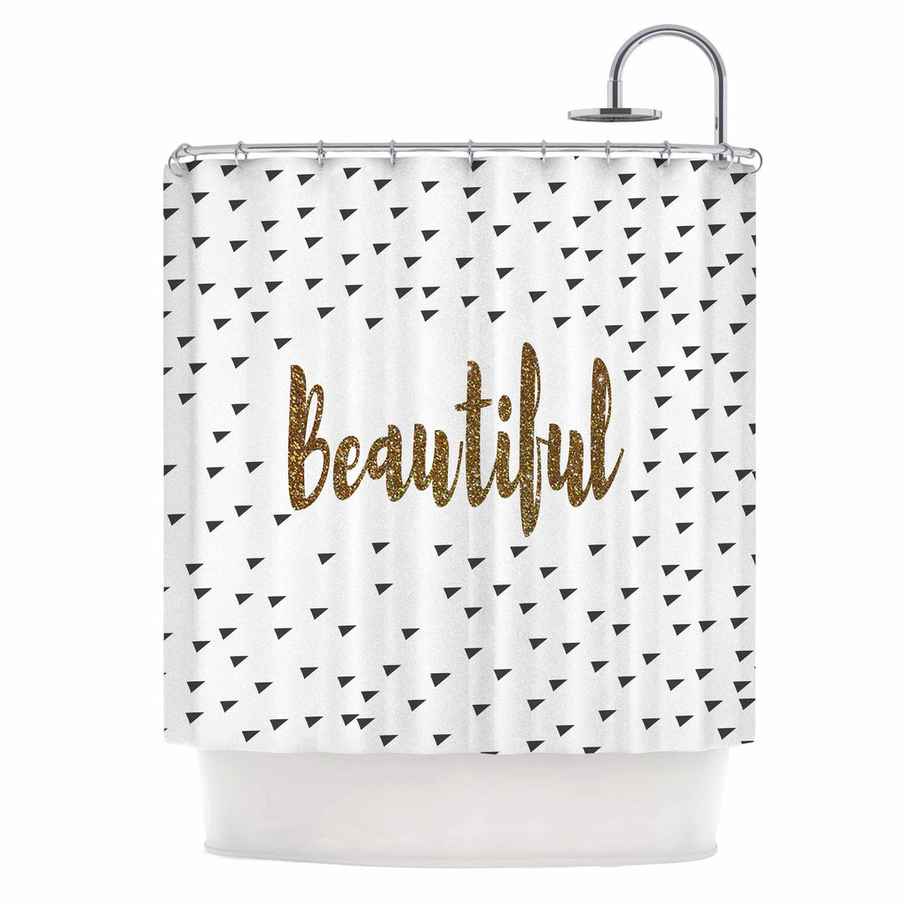 "Suzanne Carter ""Beautiful"" Gold Typography Shower Curtain - KESS InHouse"