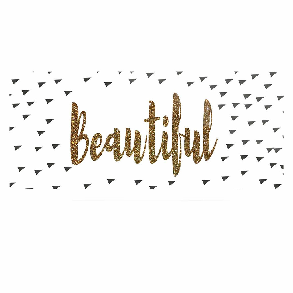 "Suzanne Carter ""Beautiful"" Gold Typography Luxe Rectangle Panel - KESS InHouse  - 1"