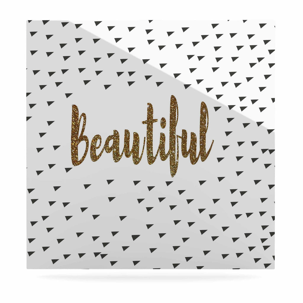 "Suzanne Carter ""Beautiful"" Gold Typography Luxe Square Panel - KESS InHouse  - 1"