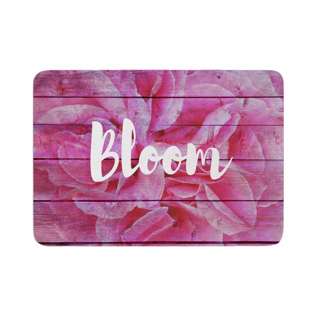 "Suzanne Carter ""Bloom Typography"" Pink Floral Memory Foam Bath Mat - KESS InHouse"