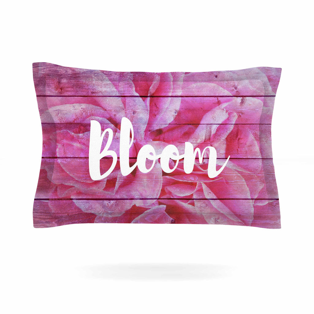 "Suzanne Carter ""Bloom Typography"" Pink Floral Pillow Sham - KESS InHouse  - 1"