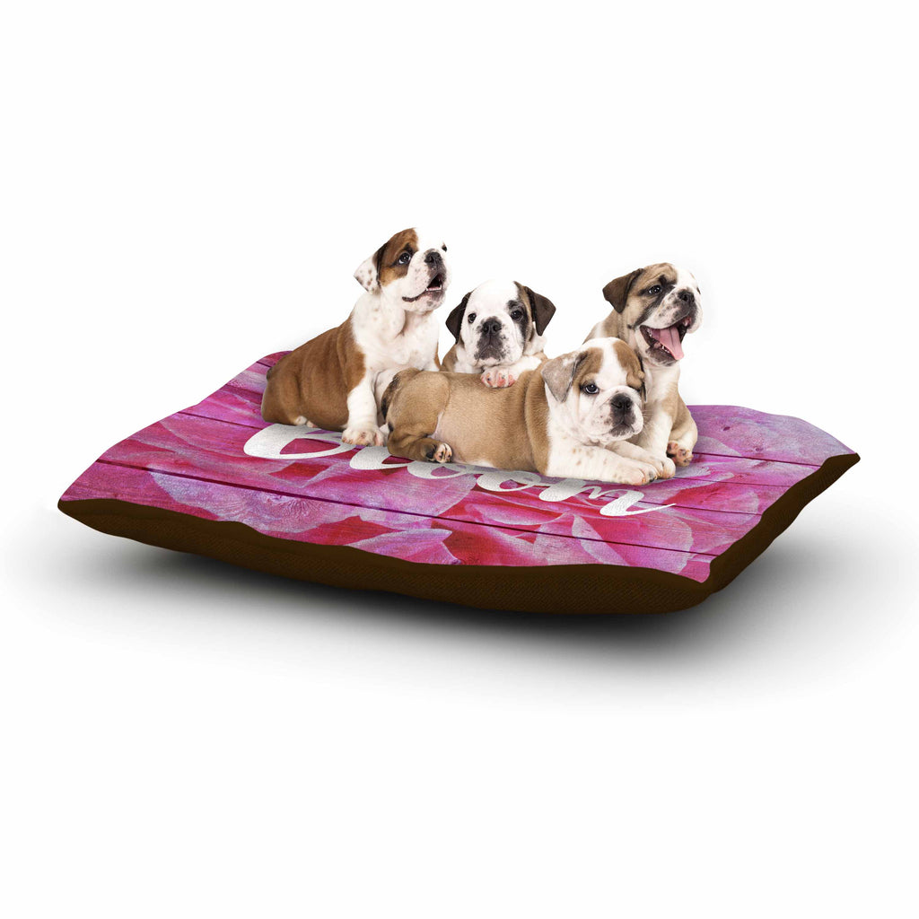 "Suzanne Carter ""Bloom Typography"" Pink Floral Dog Bed - KESS InHouse  - 1"