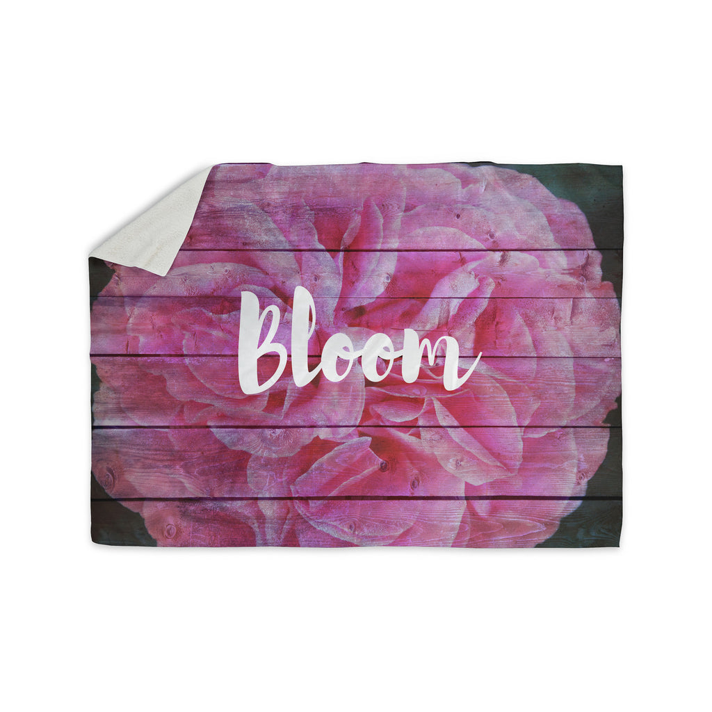 "Suzanne Carter ""Bloom Typography"" Pink Floral Sherpa Blanket - KESS InHouse  - 1"