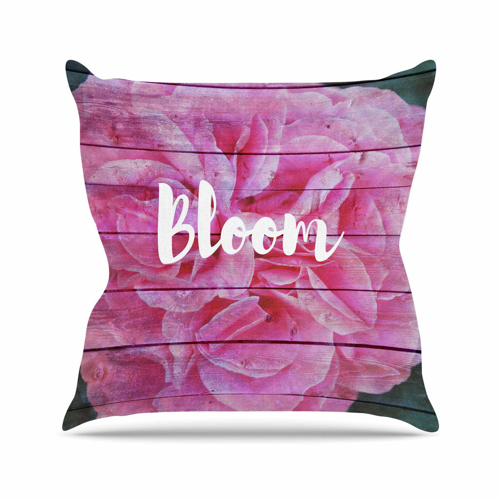 "Suzanne Carter ""Bloom Typography"" Pink Floral Outdoor Throw Pillow - KESS InHouse  - 1"