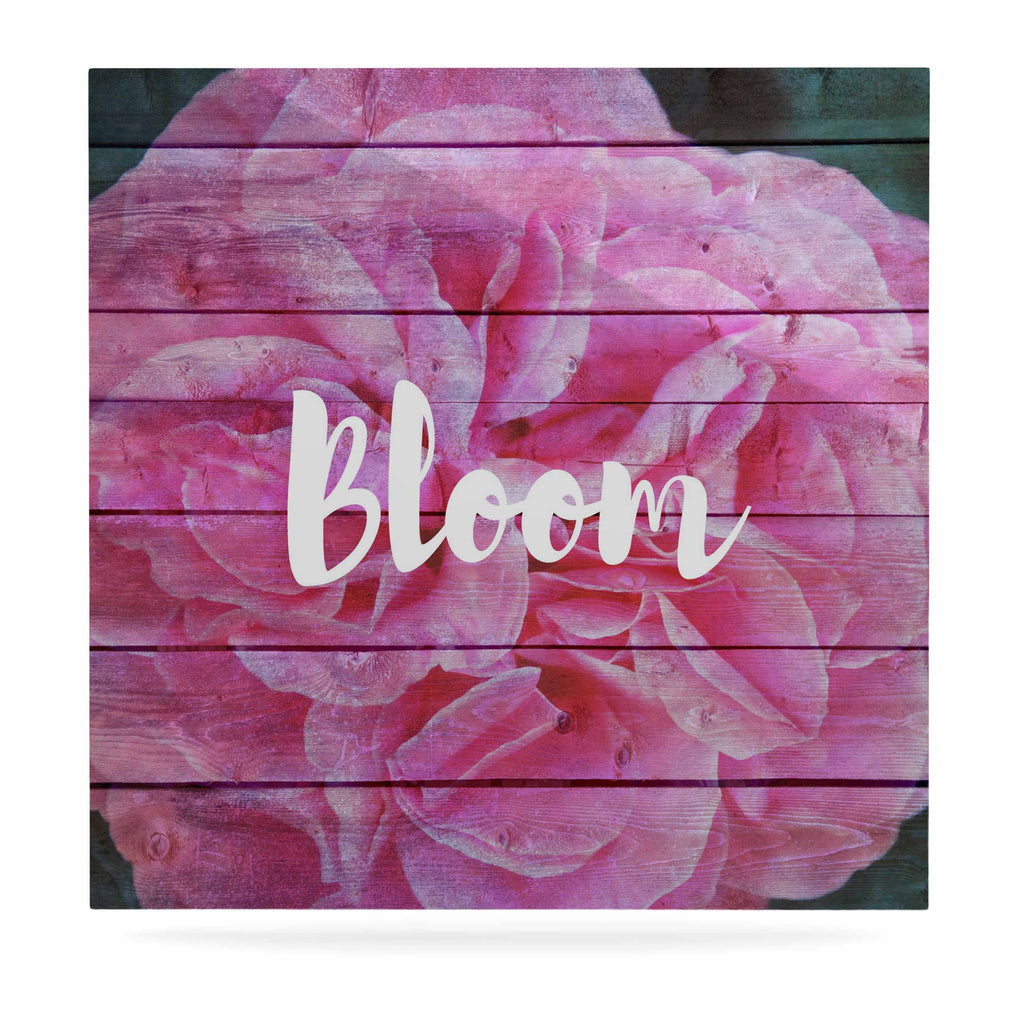 "Suzanne Carter ""Bloom Typography"" Pink Floral Luxe Square Panel - KESS InHouse  - 1"