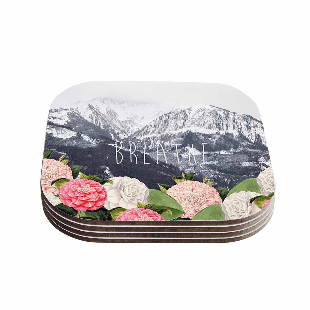 "Suzanne Carter ""Breathe"" Floral Landscape Coasters (Set of 4)"