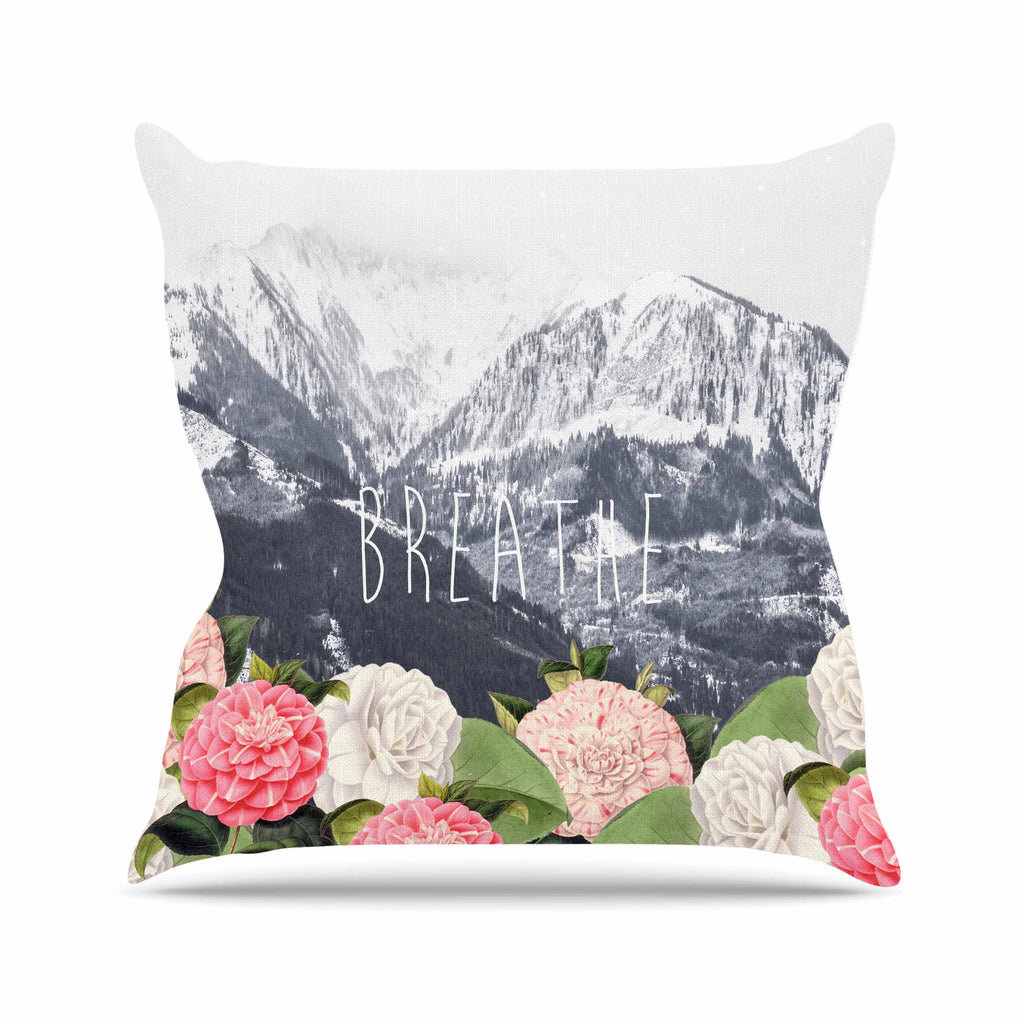 "Suzanne Carter ""Breathe"" Floral Landscape Outdoor Throw Pillow - KESS InHouse  - 1"