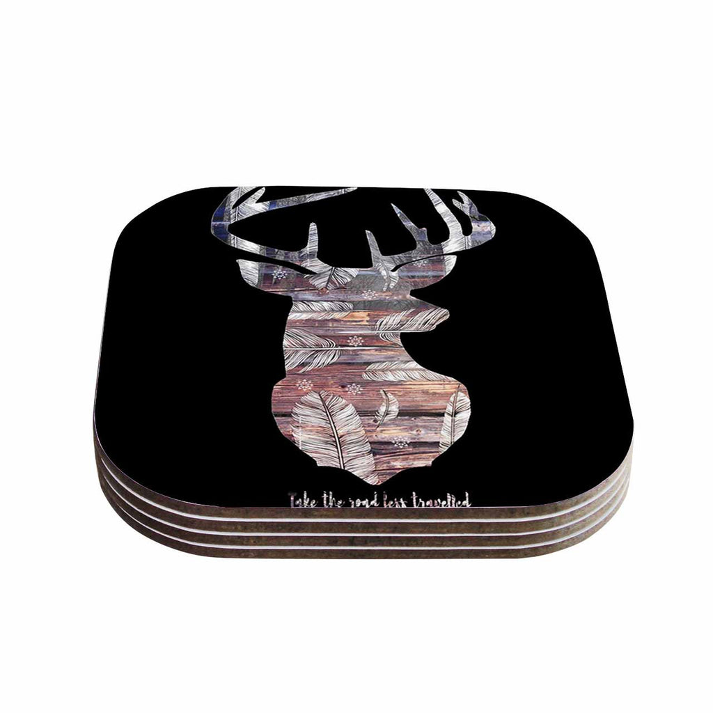 "Suzanne Carter ""The Road Black"" Black Brown Coasters (Set of 4)"