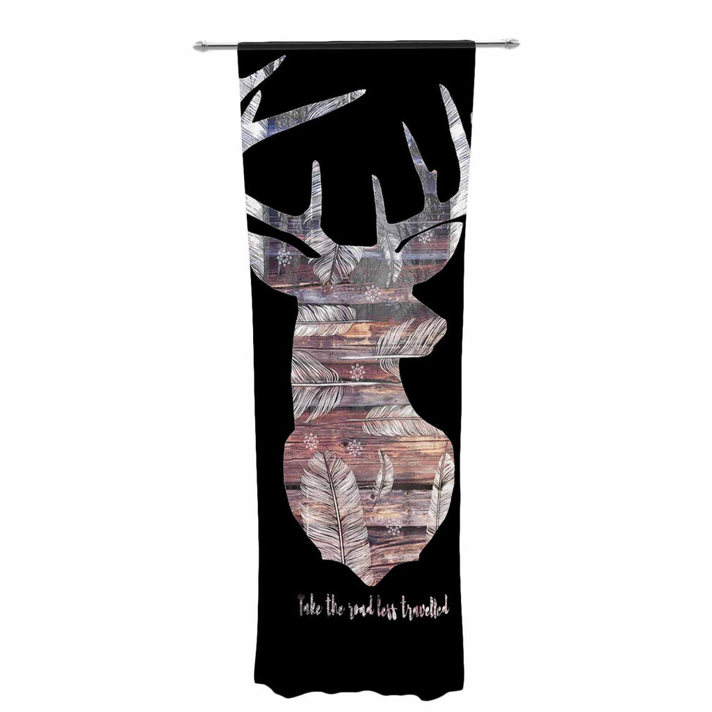 "Suzanne Carter ""The Road Black"" Black Brown Decorative Sheer Curtain - KESS InHouse  - 1"
