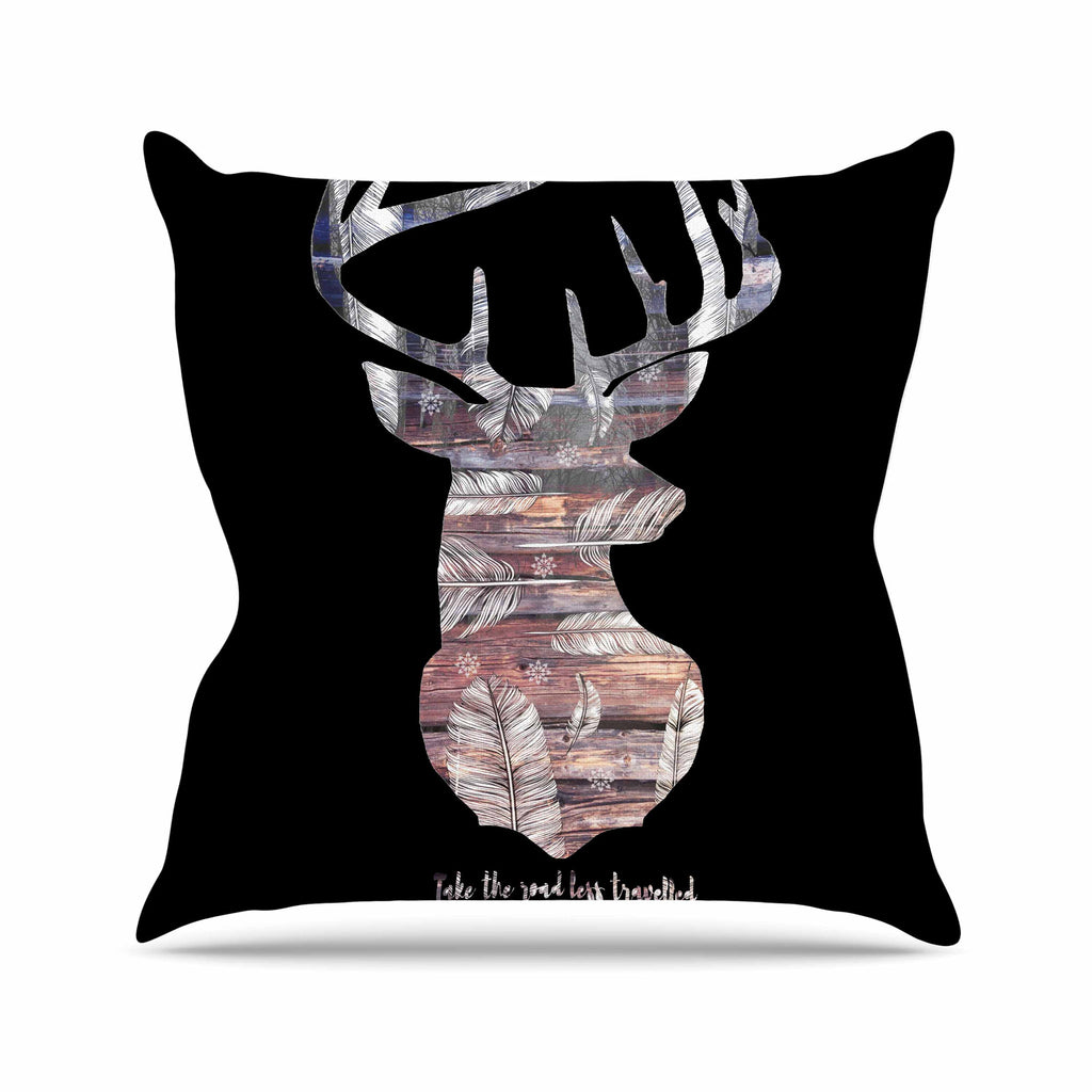 "Suzanne Carter ""The Road Black"" Black Brown Outdoor Throw Pillow - KESS InHouse  - 1"
