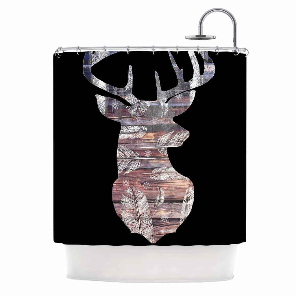 "Suzanne Carter ""The Road Black"" Black Brown Shower Curtain - KESS InHouse"