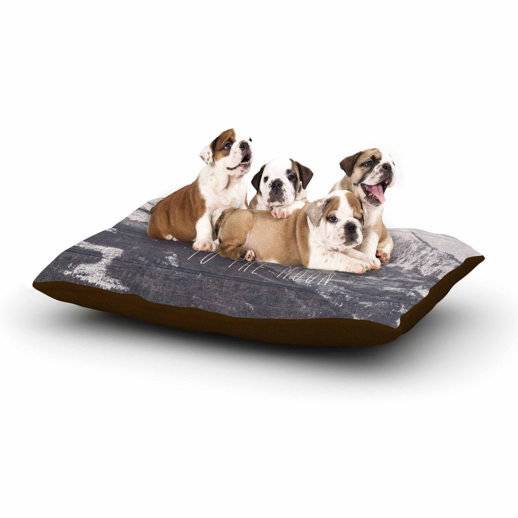 "Suzanne Carter ""Love You to The Moon"" Black White Dog Bed - KESS InHouse  - 1"