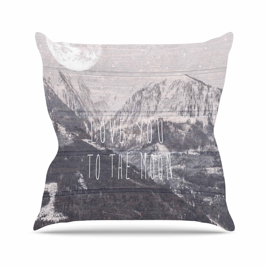 "Suzanne Carter ""Love You to The Moon"" Black White Throw Pillow - KESS InHouse  - 1"