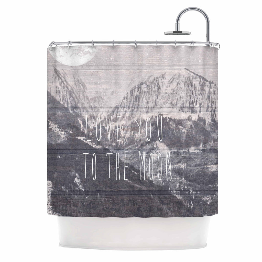 "Suzanne Carter ""Love You to The Moon"" Black White Shower Curtain - KESS InHouse"
